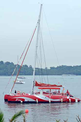 red yacht-asia photo stock