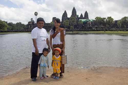 tourists at angkor wat-asia photo stock