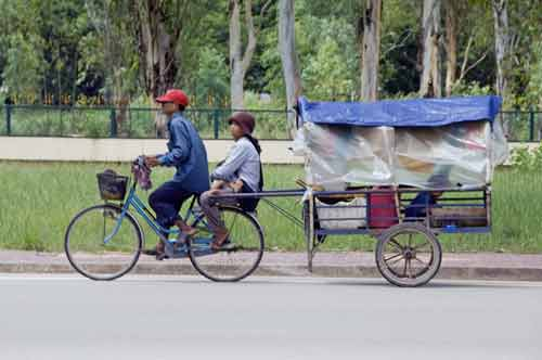 transport by bike-asia photo stock