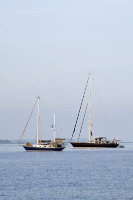 yachts at anchor-asia photo stock