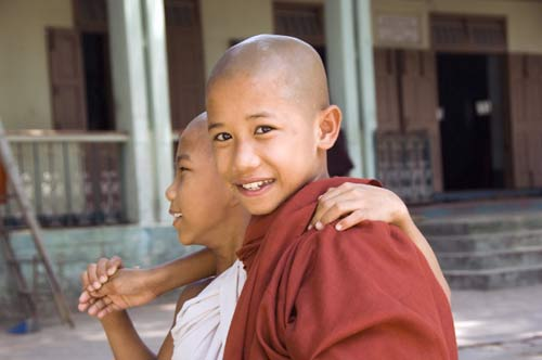 young monks-asia photo stock